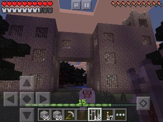 Minecraft PE castle with 4x4 modular design inspired by nether fortress design, back view