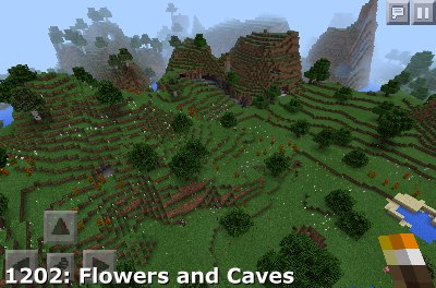 Minecraft PE Seed 1202: Flowers and Caves